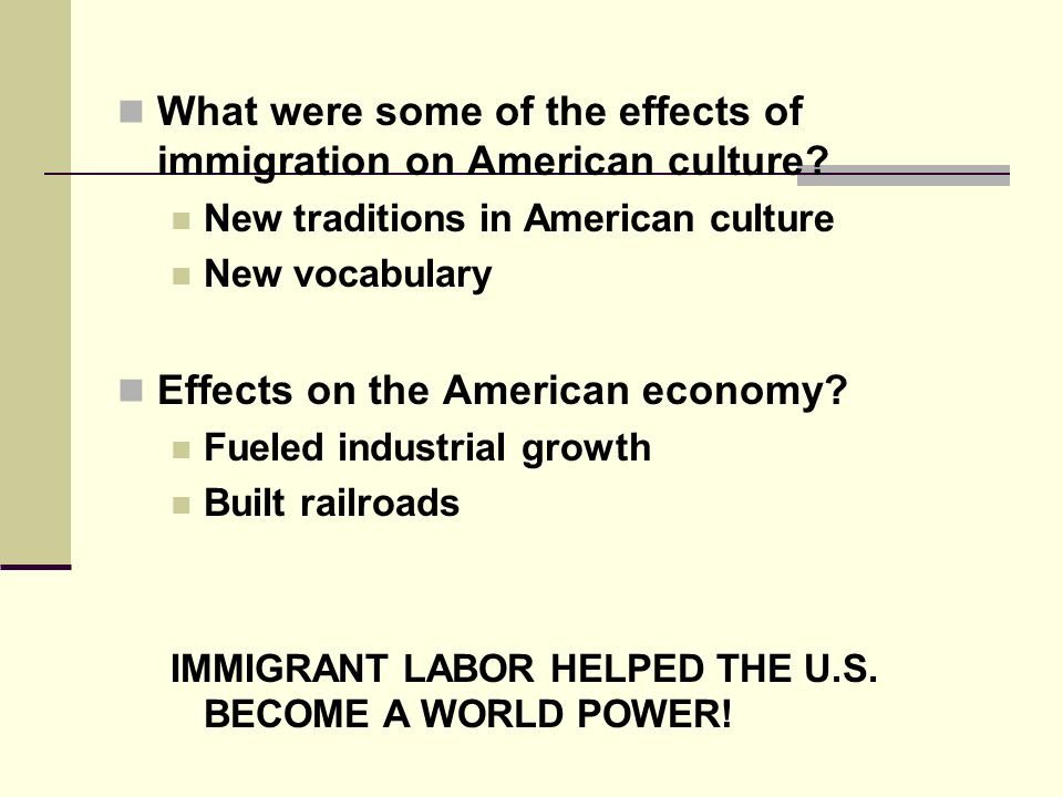 What were some of the effects of immigration on American culture.