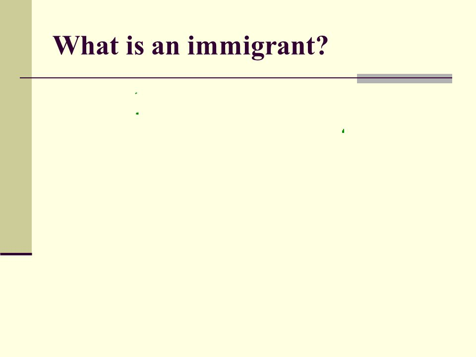 What is an immigrant