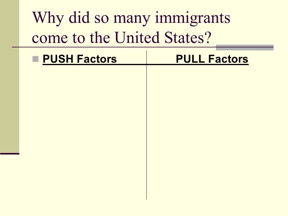 Why did so many immigrants come to the United States PUSH FactorsPULL Factors