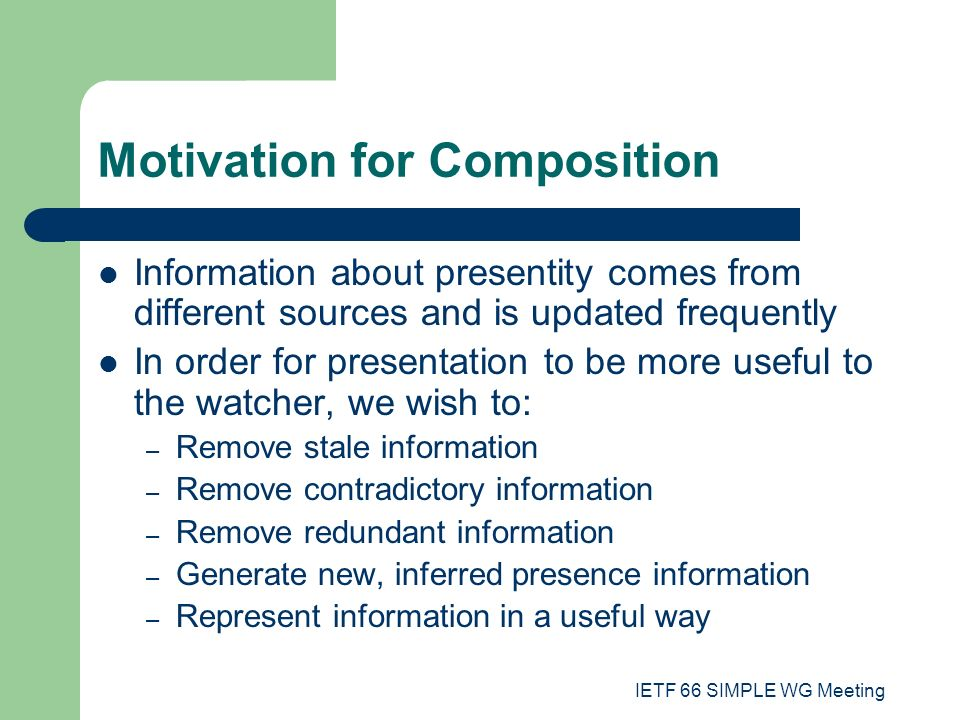 To composing the information, when it comes