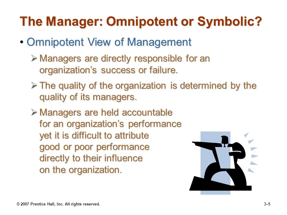 © 2007 Prentice Hall, Inc. All rights reserved.3–5 The Manager: Omnipotent or Symbolic.