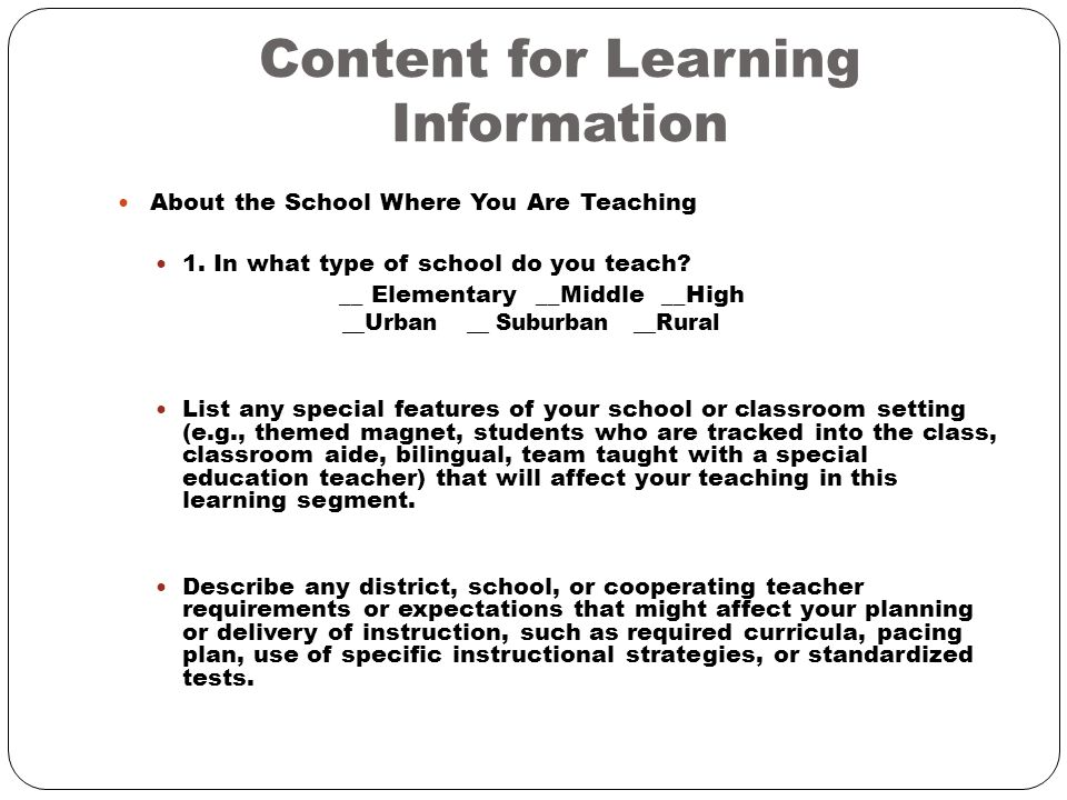 Planning for Instruction  Context for Learning (CFL) The Context for