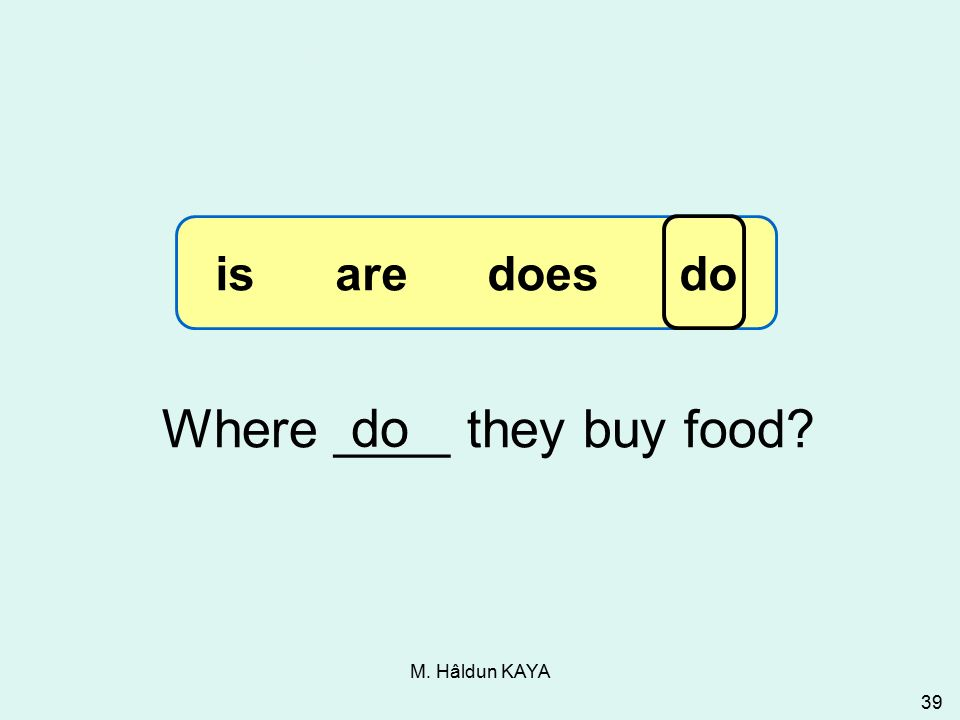 M. Hâldun KAYA 39 Where ____ they buy food do 3-13 Let's Practice is are does do