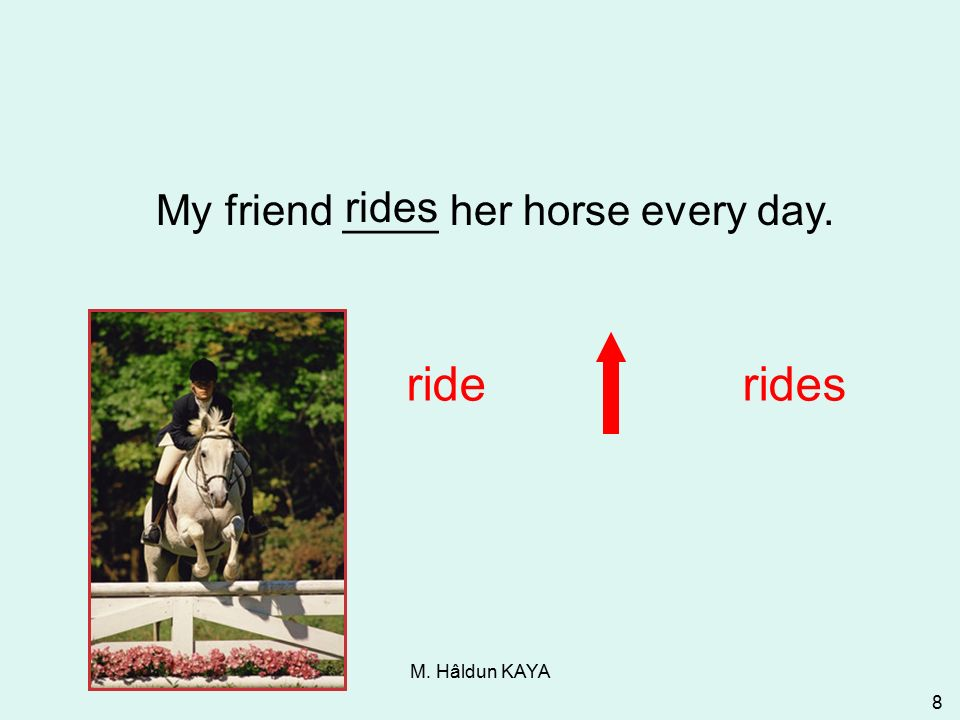 M. Hâldun KAYA 8 My friend ____ her horse every day. riderides 3-1 Let's Practice