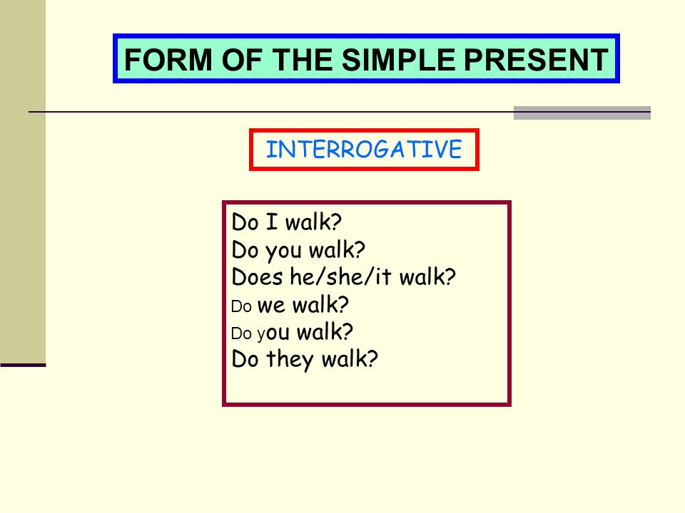 FORM OF THE SIMPLE PRESENT INTERROGATIVE Do I walk.