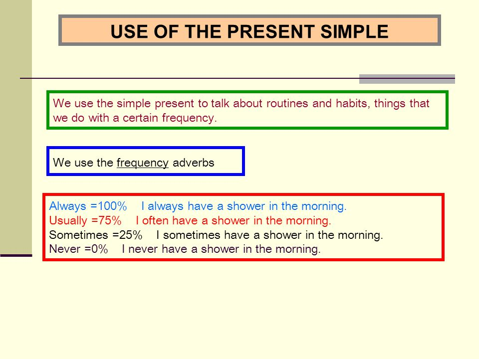 USE OF THE PRESENT SIMPLE We use the frequency adverbs We use the simple present to talk about routines and habits, things that we do with a certain frequency.