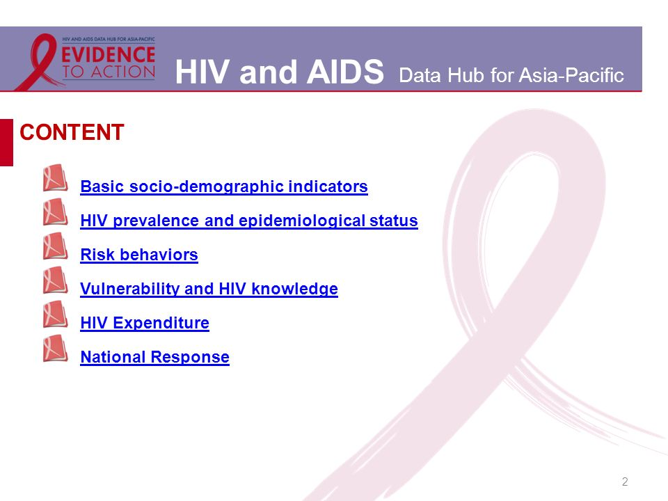 HIV and AIDS Data Hub for Asia-Pacific 2 Basic socio-demographic indicators HIV prevalence and epidemiological status Risk behaviors Vulnerability and HIV knowledge HIV Expenditure National Response CONTENT