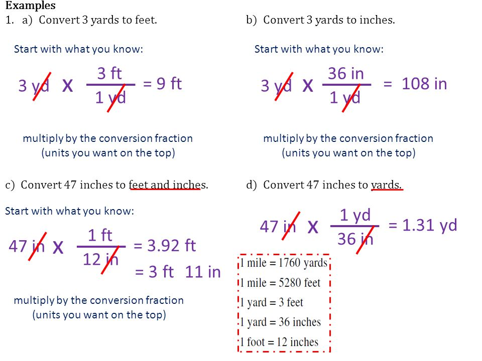 Examples 1 A Convert 3 Yards To Feet B