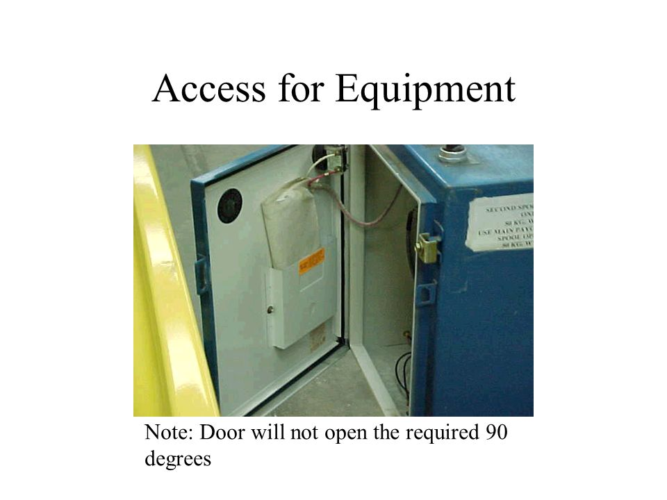 Access for Equipment Note: Door will not open the required 90 degrees