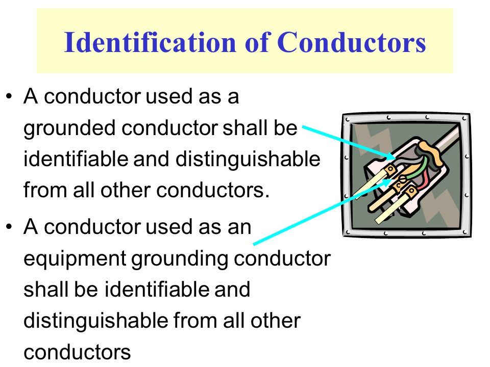 Identification of Conductors A conductor used as a grounded conductor shall be identifiable and distinguishable from all other conductors.