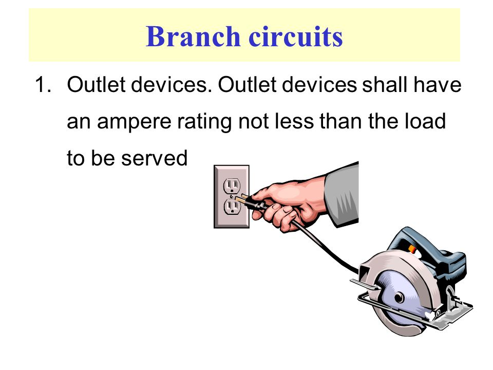 Branch circuits 1.Outlet devices.