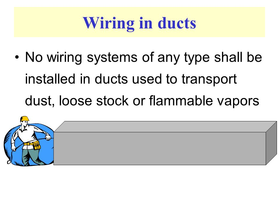 Wiring in ducts No wiring systems of any type shall be installed in ducts used to transport dust, loose stock or flammable vapors