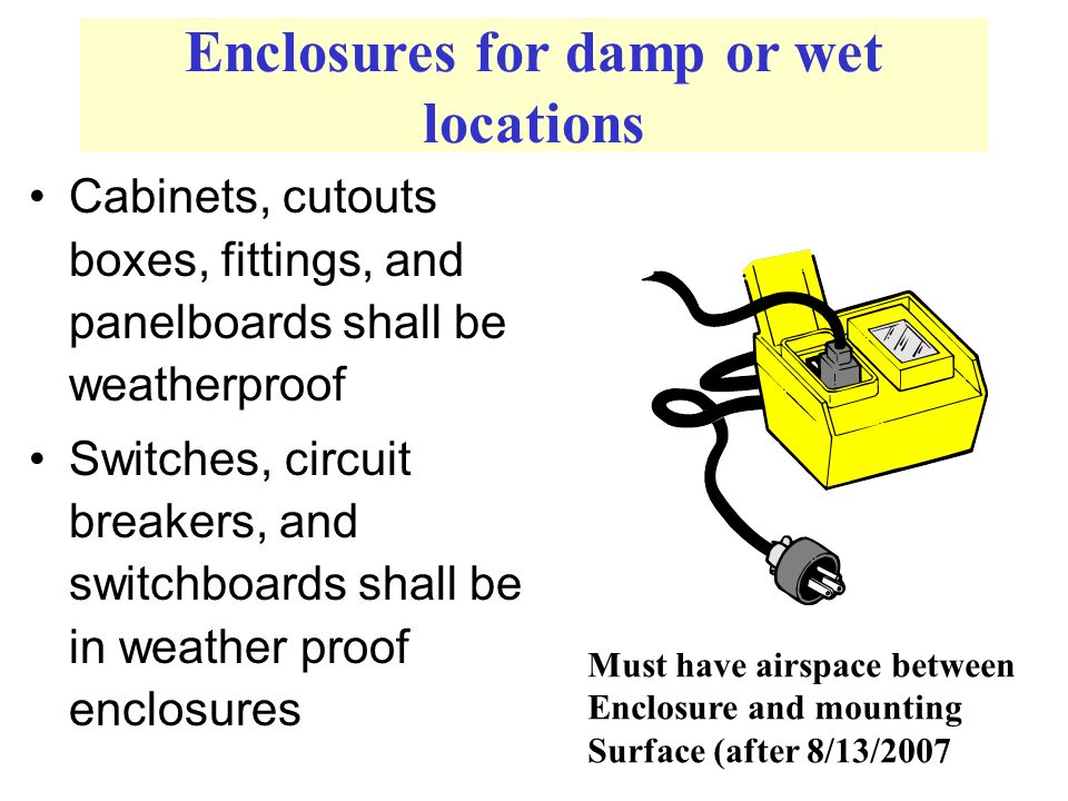 Enclosures for damp or wet locations Cabinets, cutouts boxes, fittings, and panelboards shall be weatherproof Switches, circuit breakers, and switchboards shall be in weather proof enclosures Must have airspace between Enclosure and mounting Surface (after 8/13/2007