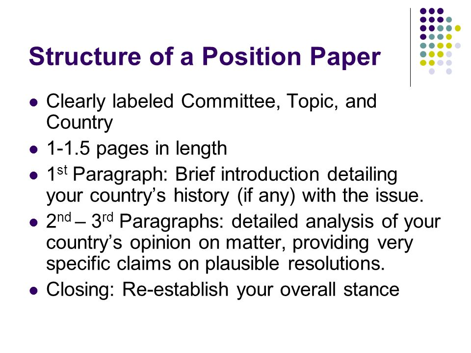 Position Papers Created By Richa Lal What Is A Position Paper  Structure Of A Position Paper Clearly Labeled Committee Topic And Country  Pages In Length