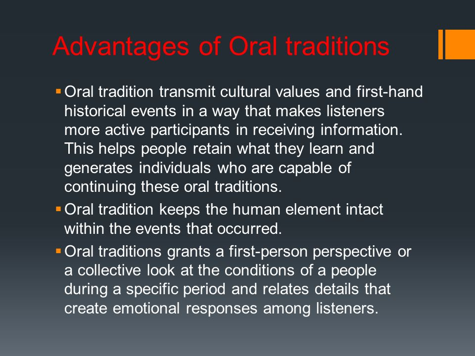 limitations of oral tradition