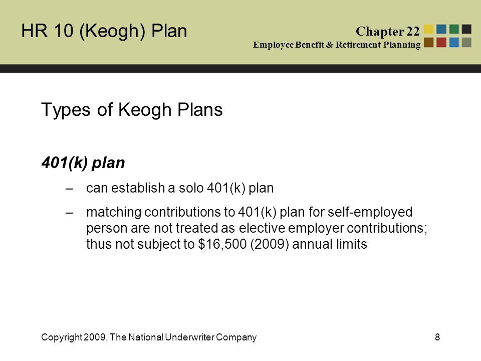 HR 10 Keogh Plan Chapter 22 Employee Benefit Retirement Planning