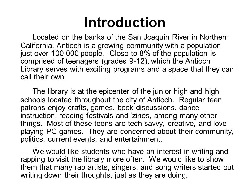 The Antioch Library presents    An End of School Year Teen Spoken