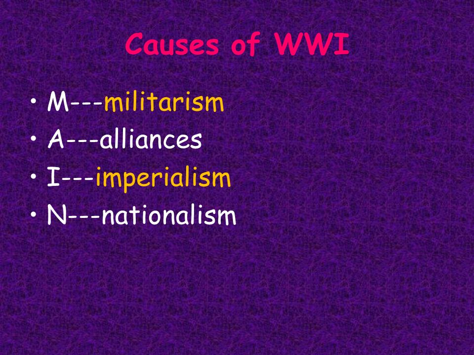 examples of militarism in wwi