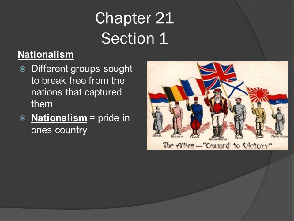 Chapter 21 Section 1 Nationalism  Different groups sought to break free from the nations that captured them  Nationalism = pride in ones country