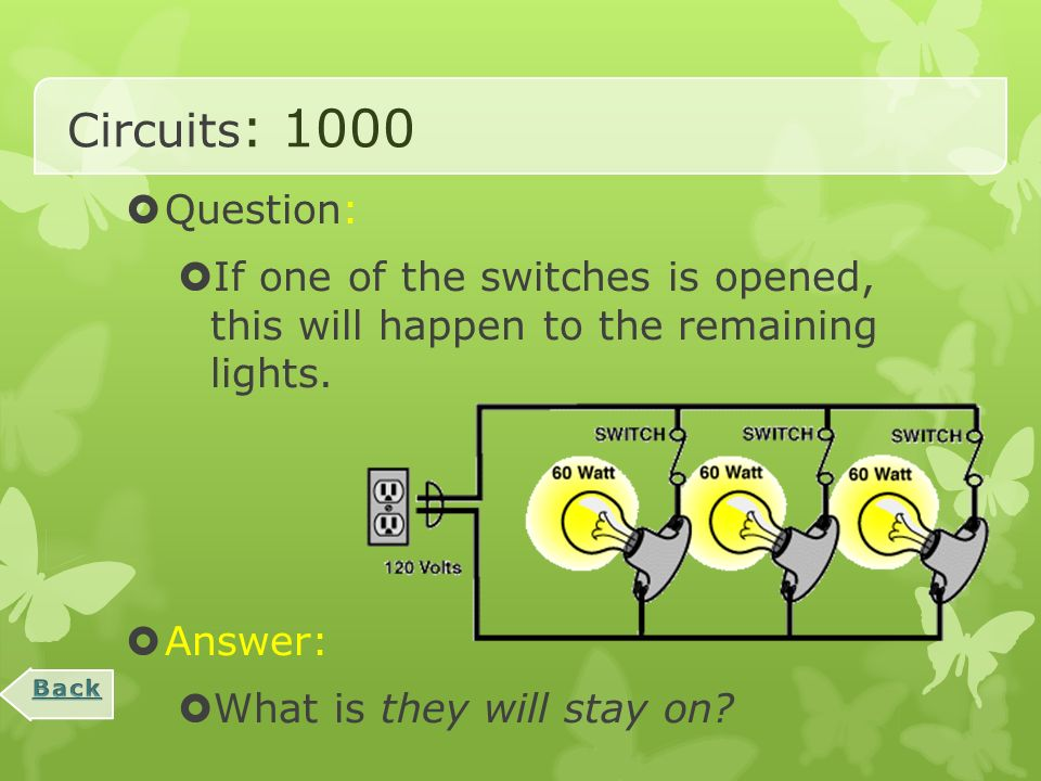 Circuits : 800  Question:  If the switch is opened, what will happen to the lights.