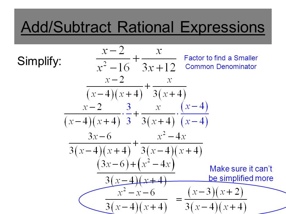 Add/Subtract Rational Expressions Simplify: Factor to find a Smaller Common Denominator Make sure it can't be simplified more