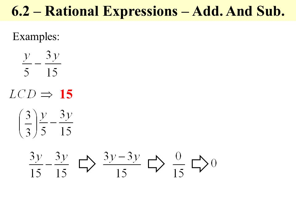 Examples: – Rational Expressions – Add. And Sub.