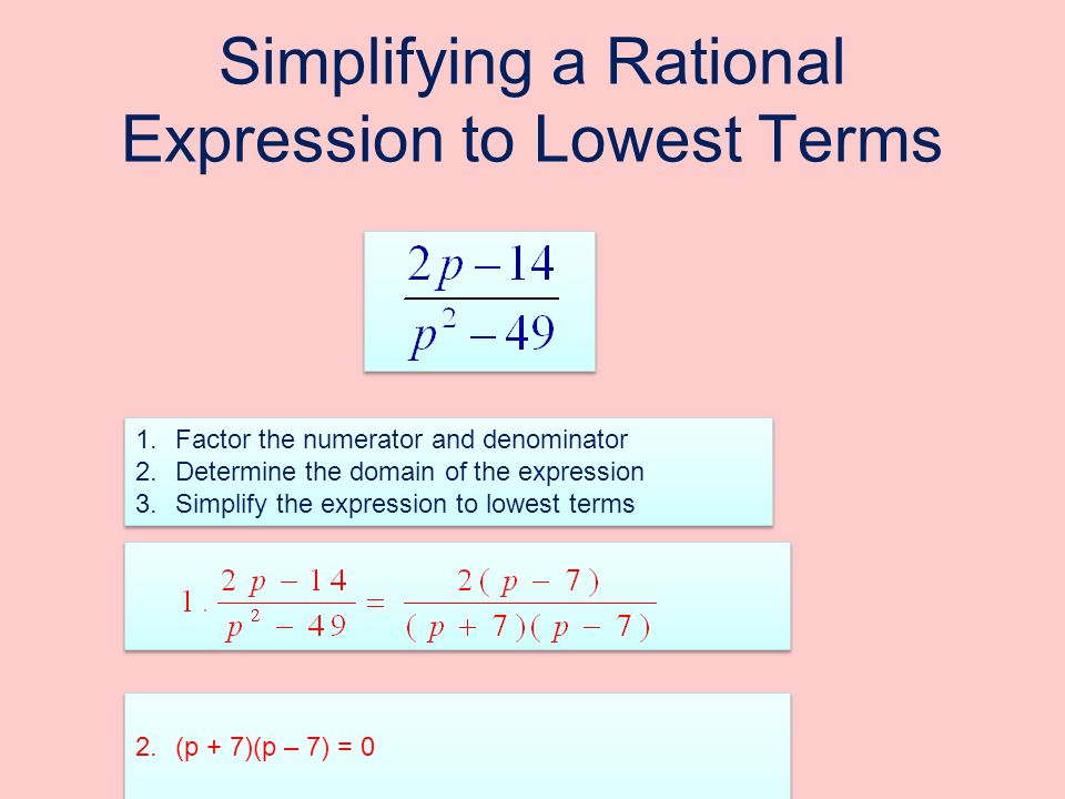 Simplifying a Rational Expression to Lowest Terms 1.Factor the numerator and denominator 2.Determine the domain of the expression 3.Simplify the expression to lowest terms 1.Factor the numerator and denominator 2.Determine the domain of the expression 3.Simplify the expression to lowest terms 2.(p + 7)(p – 7) = 0 p = -7p = 7 Domain: {p | p is a real number and p ≠ -7 and p ≠ 7 2.(p + 7)(p – 7) = 0 p = -7p = 7 Domain: {p | p is a real number and p ≠ -7 and p ≠ 7