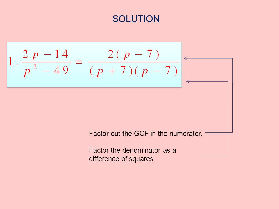 Factor out the GCF in the numerator. Factor the denominator as a difference of squares. SOLUTION