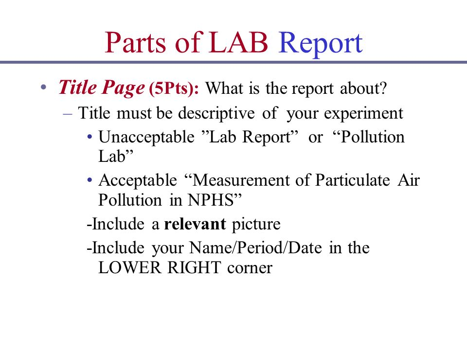 Introduction To LAB Reports The Function Of A LAB Report