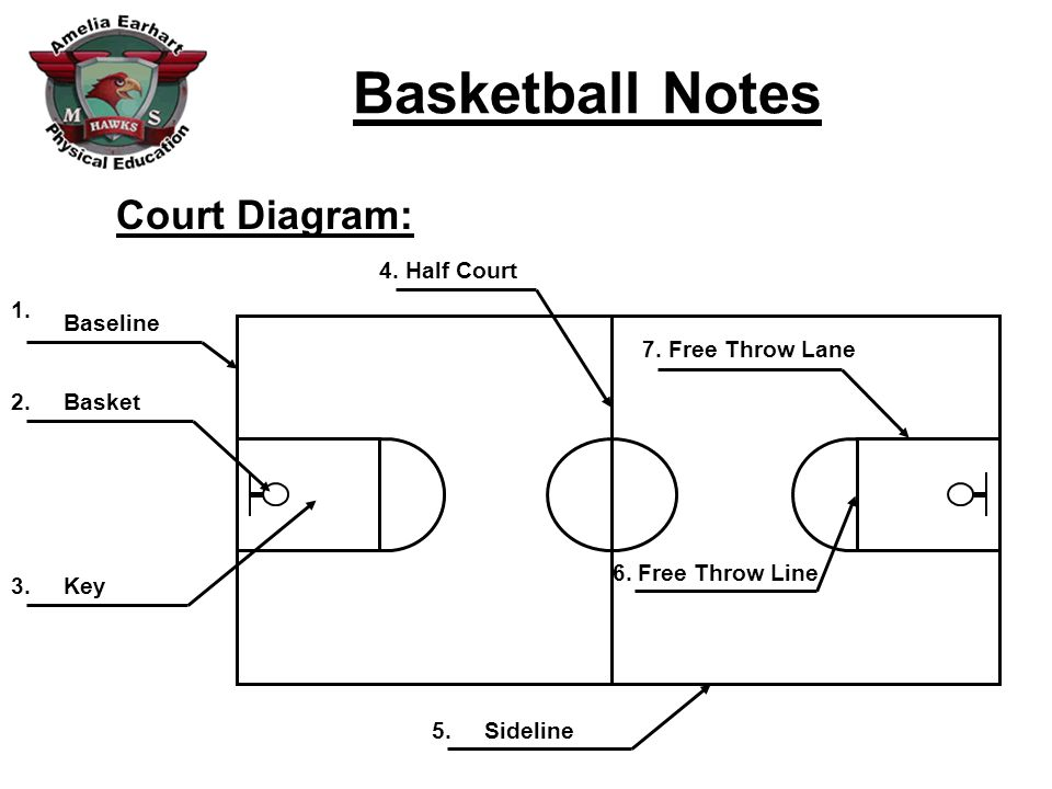 Half Court Basketball Diagram | Basketball Notes Court Diagram Baseline Basket Key Half Court