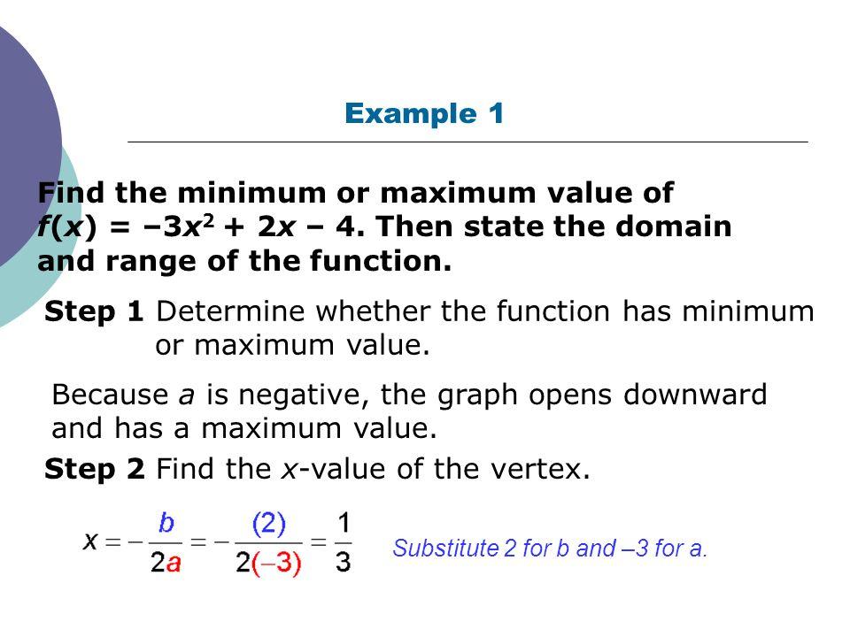 Quadratic Functions In Standard Form Finding Minimum Or Maximum