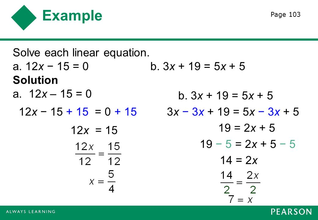 Example Solve each linear equation. a. 12x − 15 = 0 b.