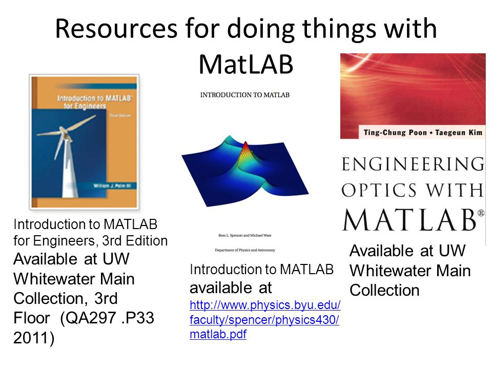 A Brief introduction to MatLAB ($50 - $99 for students