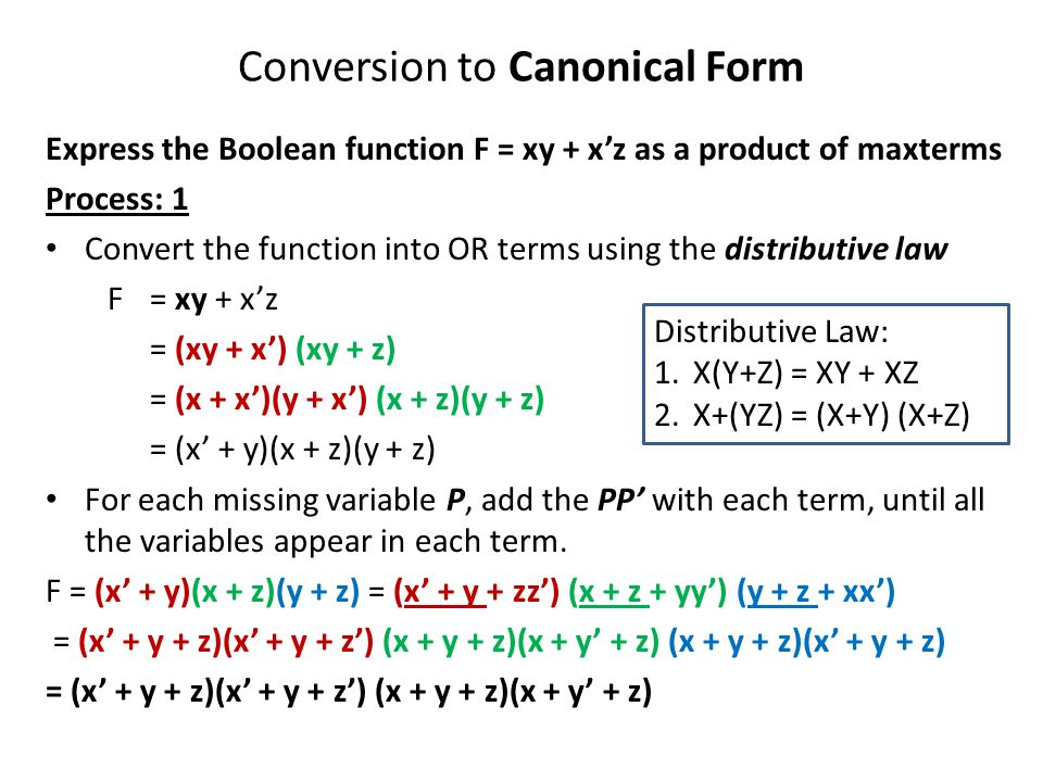 Conversion to Canonical Form Express the Boolean function F = xy + x'z as a product of maxterms Process: 1 Convert the function into OR terms using the distributive law F = xy + x'z = (xy + x') (xy + z) = (x + x')(y + x') (x + z)(y + z) = (x' + y)(x + z)(y + z) For each missing variable P, add the PP' with each term, until all the variables appear in each term.