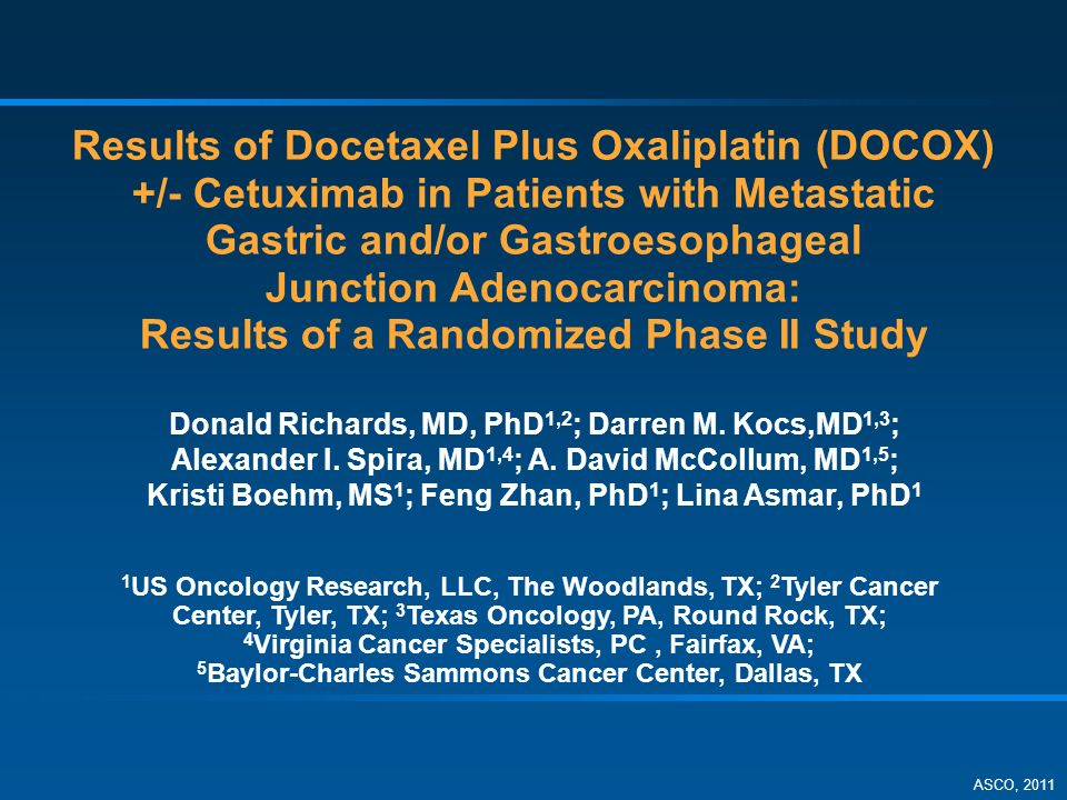Results of Docetaxel Plus Oxaliplatin (DOCOX) +/- Cetuximab in Patients with Metastatic Gastric and/or Gastroesophageal Junction Adenocarcinoma: Results of a Randomized Phase II Study Donald Richards, MD, PhD 1,2 ; Darren M.