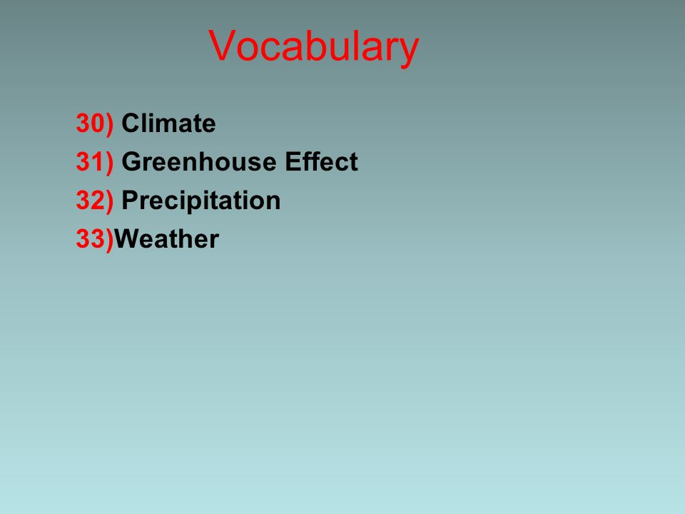 Vocabulary 30) Climate 31) Greenhouse Effect 32) Precipitation 33)Weather