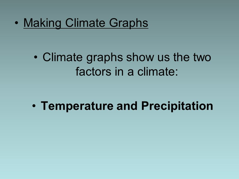 Making Climate Graphs Climate graphs show us the two factors in a climate: Temperature and Precipitation