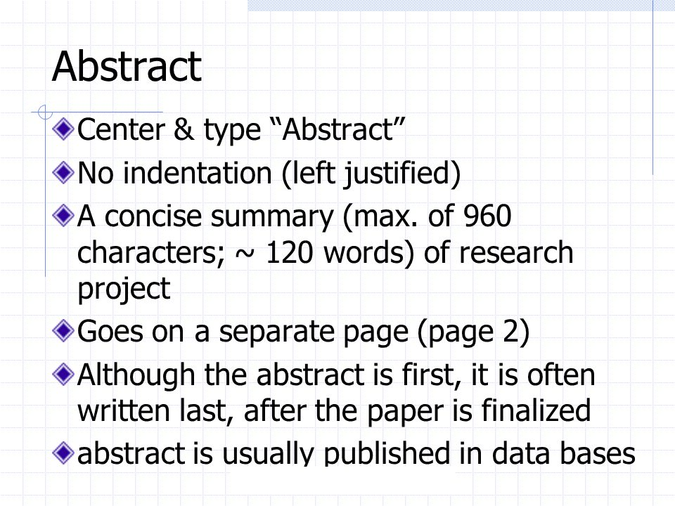 research project abstract