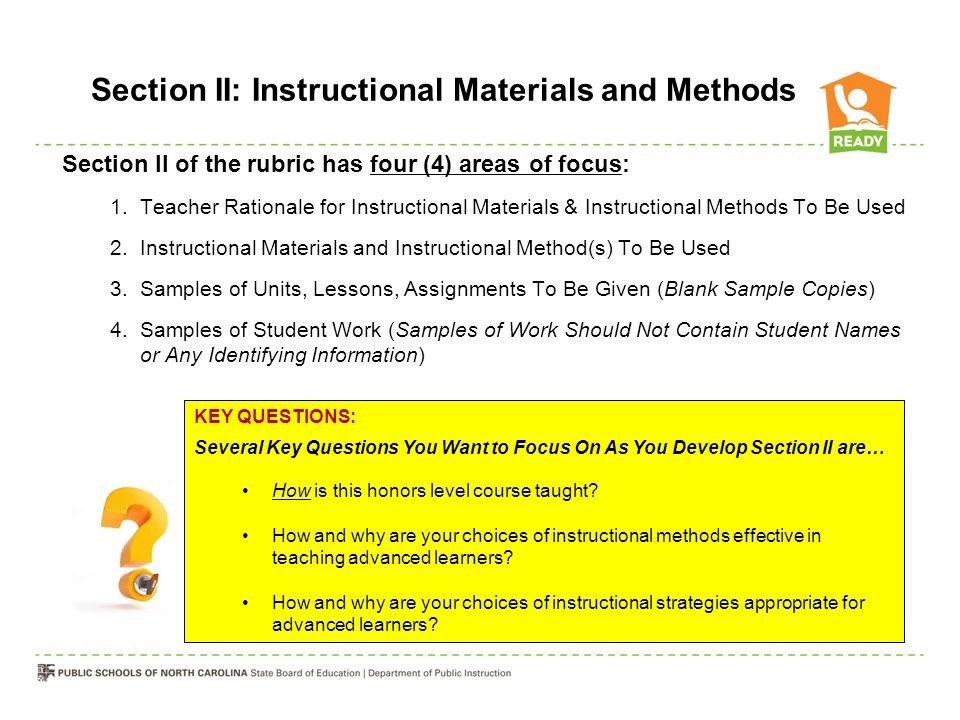 Preparing Section Ii Instructional Materials Methods Of The