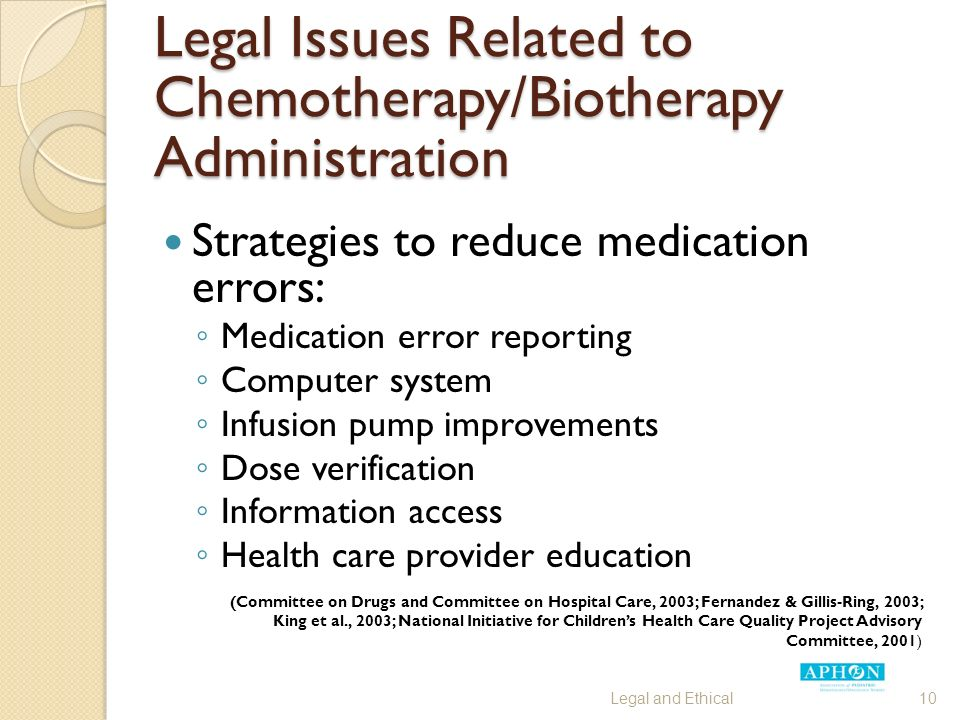 Legal Issues Related to Chemotherapy/Biotherapy Administration Strategies to reduce medication errors: ◦ Medication error reporting ◦ Computer system ◦ Infusion pump improvements ◦ Dose verification ◦ Information access ◦ Health care provider education (Committee on Drugs and Committee on Hospital Care, 2003; Fernandez & Gillis-Ring, 2003; King et al., 2003; National Initiative for Children's Health Care Quality Project Advisory Committee, 2001) Legal and Ethical10