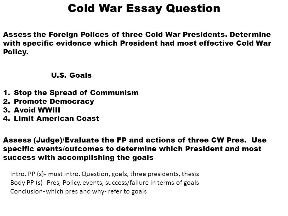 English Essay On Terrorism  Cold War Essay Question  Example Of Thesis Statement For Essay also Topics For Argumentative Essays For High School Cold War Essay Question Assess The Foreign Polices Of Three Cold War  Synthesis Example Essay