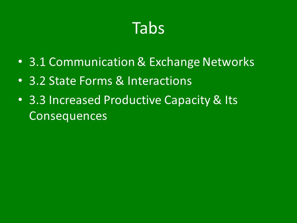 Tabs 3.1 Communication & Exchange Networks 3.2 State Forms & Interactions 3.3 Increased Productive Capacity & Its Consequences