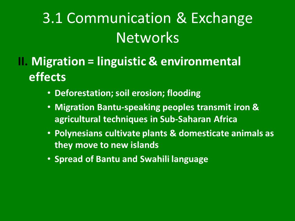 3.1 Communication & Exchange Networks II.