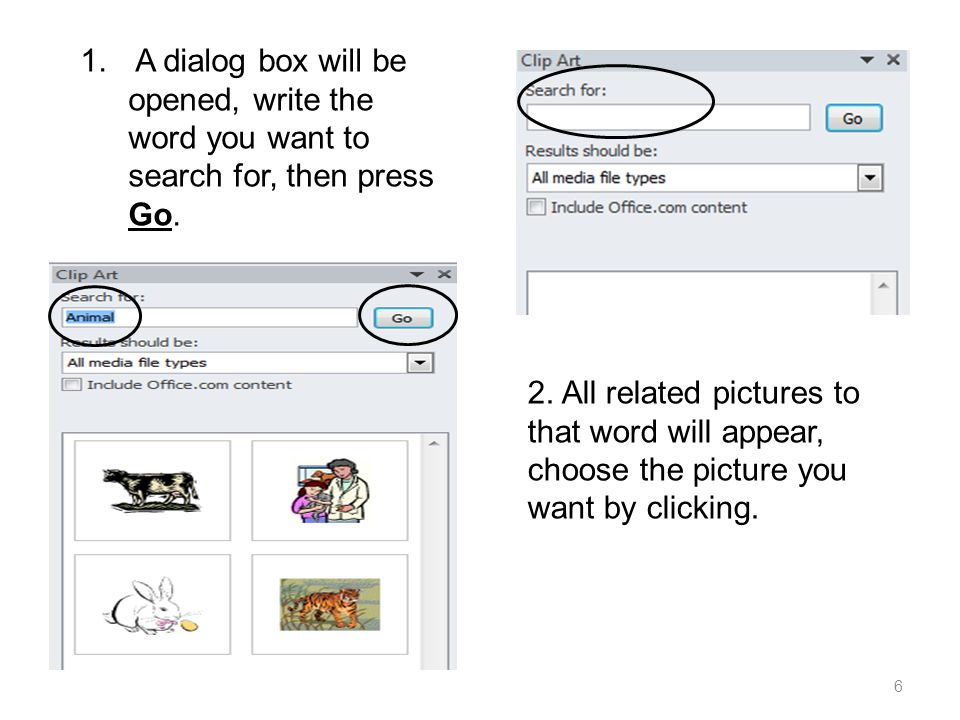 1. A dialog box will be opened, write the word you want to search for, then press Go.