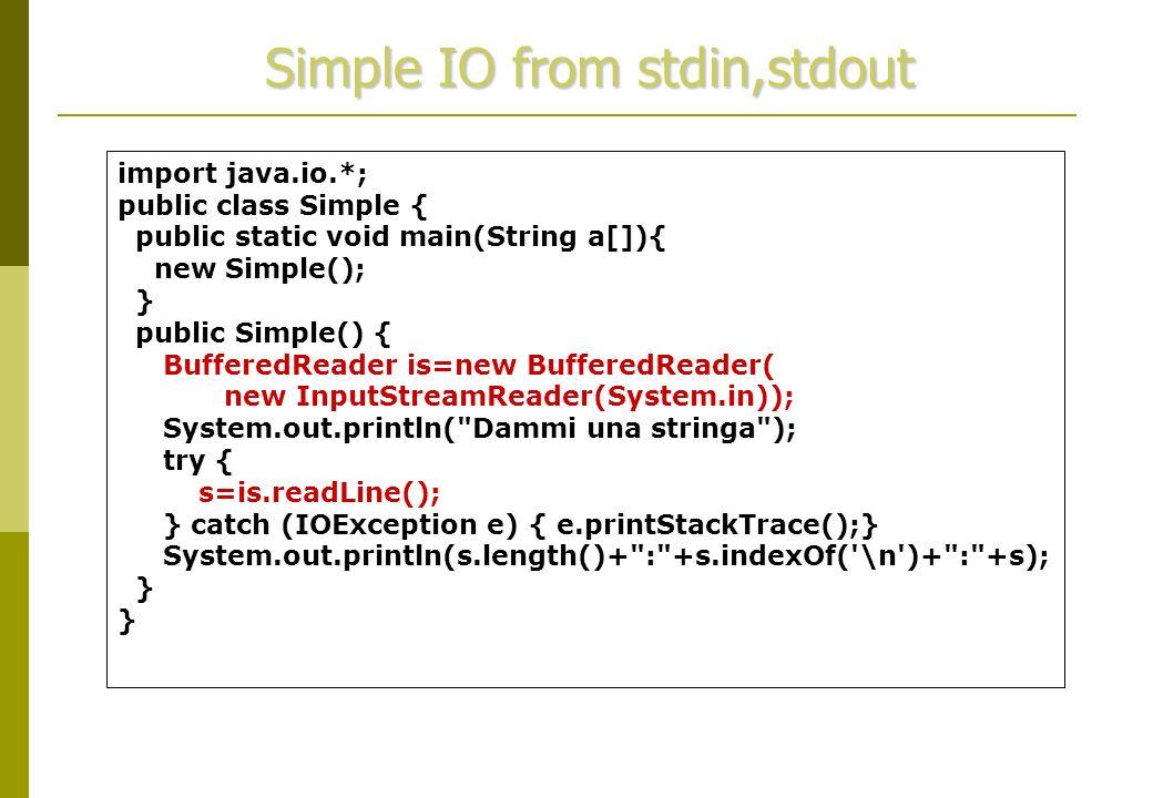 Richiami di Java Input/Output  import java io *