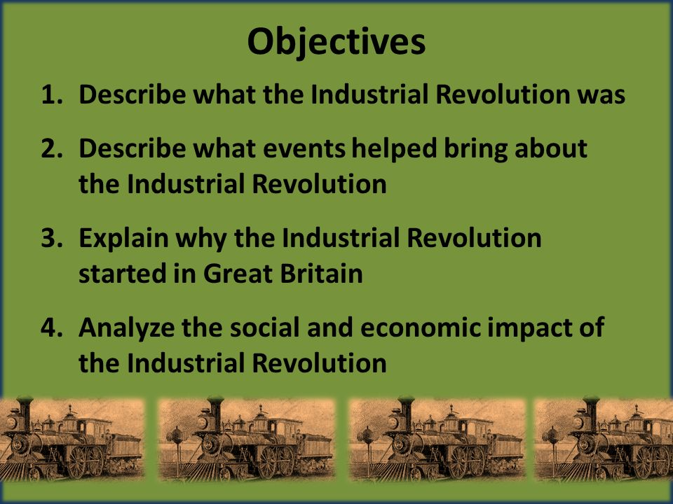the benefits and problems industrial revolution brought to britain The conditions enabling britain to pioneer the industrial revolution during the 18th century can be divided into two categories, natural and political on the natural side the country has in abundance three important commodities - water, iron and coal.