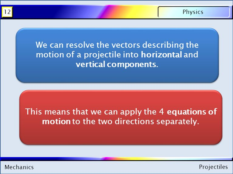 Mechanics Physics12 Projectiles We can resolve the vectors describing the motion of a projectile into horizontal and vertical components.