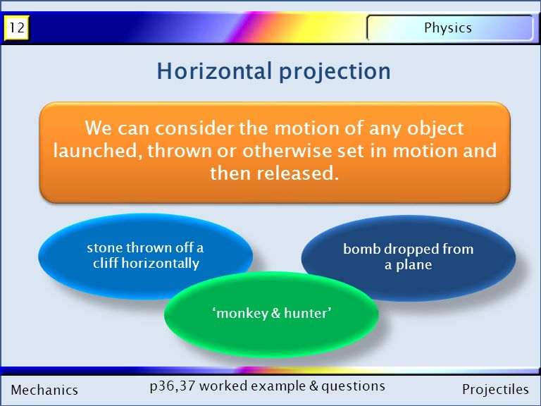 Mechanics Physics12 Projectiles Mechanics Physics12 Projectiles Horizontal projection We can consider the motion of any object launched, thrown or otherwise set in motion and then released.