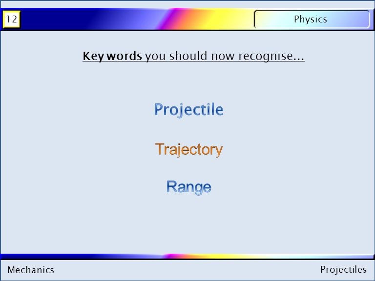 Mechanics Physics12 Projectiles Key words you should now recognise...