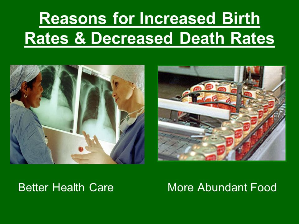 Reasons for Increased Birth Rates & Decreased Death Rates Better Health CareMore Abundant Food